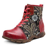 SOCOFY Genuine Leather Handmade Ankle Boots