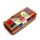 Women Genuine Leather Patchwork Long Wallet