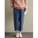 Plus Size Women Elastic Waist Casual Pants with Pockets