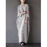 S-5XL Striped Cotton Dress