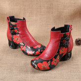 Retro Genuine Leather Butterfly Ankle Boots