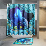 Original 180x180cm Blue Dolphin Deep Sea Waterproof Bathroom Shower Curtain with 12 Hooks