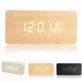 USB Voice Control Wooden Wooden Rectangle Temperature LED Digital Alarm Clock Humidity Thermometer