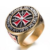 Stainless Steel Domineering Knights Red Enamel Cross Ring