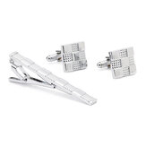Original Unisex Silver Grid Cufflinks Business High-grade Tie Clip