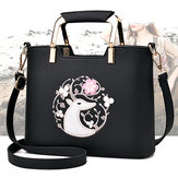 Women Casual Embroidery Tote Daily Shopping Shoulder Bag Handbag