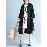 Plus Tamaño Mujer Casual Cardigan suelta de manga larga de bordado Vestido