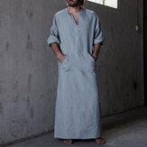 INCERUNvendimiaLooseKaftanTopsMen Long Túnica Loungewear