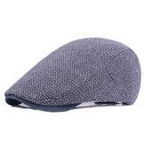 Mens Algodón Solid Beret Caps Casual Verano Sunscreen Frente Caps Flat Sombrero