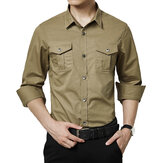 Original Military Style Casual Business Pockets Cotton Cargo Shirts