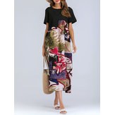 Original Women Short Sleeve Print Patchwork O-neck Dress