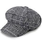 Cotton Leisure Newsboy Berets Caps Plaid Stripe Hats