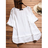 Original Casual Women Loose Patchwork Short Sleeve Irregular Hem Blou
