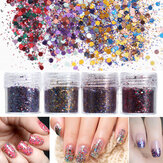 4 pentole 10ml Chiodo Art Brillare Particelle di polvere di fogli Sparkly Colorful Christmas Iridescent Acrylic Tips