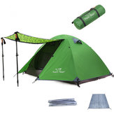 Trackman TM1211 2 Person Camping Tent Double Layers Aluminum Rod 3 Season Outdoor Travel Play Tents