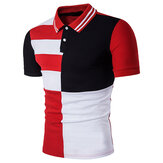 Summer Stylish Mens Hit Color Turn-down Collar Golf Shirts
