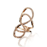 Gold Silver Infinity 8 Shaped Rhinestone Alloy Ring For Women