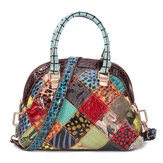 Women Genuine Leather Bohemian Floral Handbag