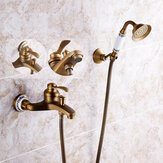 Original Antique Brass Shower Head Bathroom Tub Faucet Hand Held Tap Spray Waterfall Set
