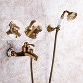 Original Cabezal de ducha de latón antiguo Cuarto de baño Juego de cascada de espray de mano para grifo de bañera