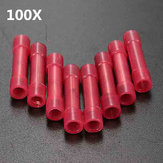 100pcs Red Electrical Wire Crimp Butt Connector Insulated Terminal 0.4-1mm² 22-18AWG