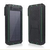 Original IPRee®12000mAhPortátilSolarCargadorPanel Doble linterna de emergencia Banco de alimentación USB con brújula
