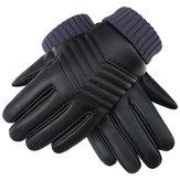 Thickened Tough Screenn PU Gloves Riding Racing Skiing Fishing Motorcycle Mountain Bike Black