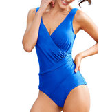 Wireless Padded Plunge Slim Fit One Piece Swimsuit