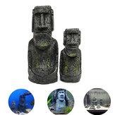 2PCS Resin Easter Island Statues Set Fish Tank Ornament Aquarium Decoration