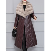 Plus Size Faux Fur Collar Mid-Long Down Coats