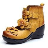 SOCOFYKadınÇiçekRetroÇengelDöngü Ayakkabıları