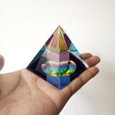 Original 6 cm Cristal Iridiscente Pirámide Prisma Color del arco iris Decoración para el hogar FengShui Reiki Decoraciones curativas