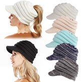 Womens Knitted Ponytail Beanie Caps Messy High Bun Hat