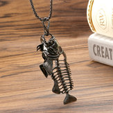 European Style Fish Bone Pendant Charm Chain Alloy Men Necklace