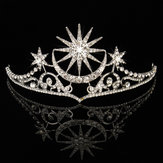 Bride Star Moon Queen Crystal Crown Tiara Wedding Bridal Party Prom Headbrand Cabelo Jóias
