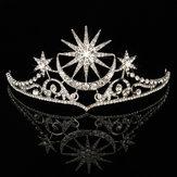 Novia Estrella Luna Reina Crystal Crown Tiara Boda Fiesta nupcial Prom Headbrand Cabello Joyas