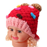 Baby Girl Toddler Cute Wool Ball Crochet Knit Beanie Hat Cap Lovely Snow Winter Warm Headbrand Earflap Gift