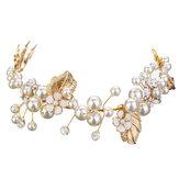Bride Luxury Crystal Pearl Bead Cabelo Cadeia de casamento Tiara nupcial Cabelo Acessórios Headbrand
