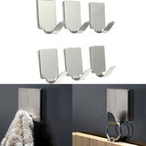 6pcs Rectangle Stainless Steel Bathroom Kitchen Sticky Hooks
