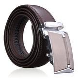 Hommes second vachette étage ceinture en cuir marron boucle automatique ceinture noire sangle ceinture