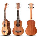 Original 21 Inch 4 cuerdas 15 trastes Instrumento musical ukulele caoba color madera con púas de guitarra / Cuerda