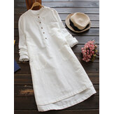 Women Vintage Buttons Shirt Dresses