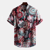 Original Mens Vintage Pattern Printing Short Sleeve Henley Shirts