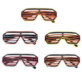 ContrôledusonFlashELWire Glasses Neon LED Light Up Shutter Glow Frame Glasses