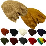 Unisex Men Women Knitted Slouch Beanie Hat Hole Elastic Outdoor Pure Color Cap