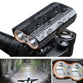 XANES DL06 1200LM 2xm<x>l-T6 150° Grand Projecteur 6000mAh Batterie Phare de Bicyclette 4 Modes USB Rechargeable