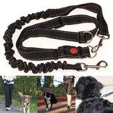 Black Adjustable Handsfree Elastic Pet Dog Lead Running Jogging Waist Belt Leash