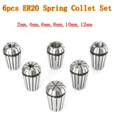 6pcs ER20 Chuck Collet 2mm to 12mm Spring Collet Set For CNC Milling Lathe Tool