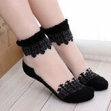 Women Girl Summer Ultra Thin Socks Transparent Breathable Crystal Lace Ankle Socks