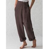 Cotton Belted High Waist Casual Wide Leg Harem Pants